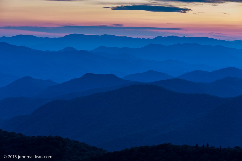 """Cowee Mountain Layers at Twlight"" by John MacLean Photography"