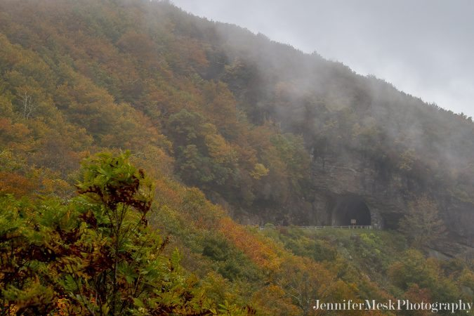 """Autumn Fog at Craggy Pinnacle Tunnel, Milepost 364.4"" by Jennifer Mesk Photography"