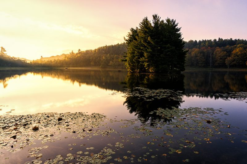 """Autumn Morning at Bass Lake, Milepost 294"" by Victor Ellison Fine Art Photography"