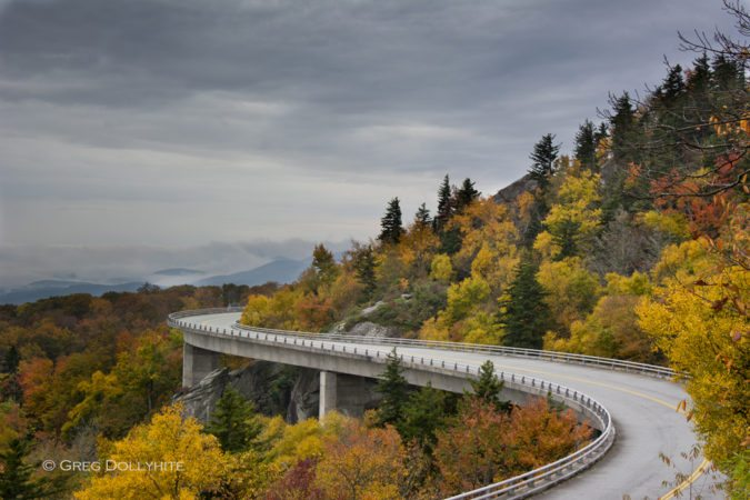 """Fall at the Linn Cove Viaduct, Milepost 304.4"" by Greg Dollyhite"