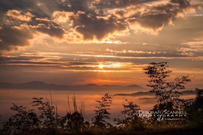 """October Sunrise near Chestnut Cove Overlook, Milepost 398.3"" by Deborah Scannell Photography"