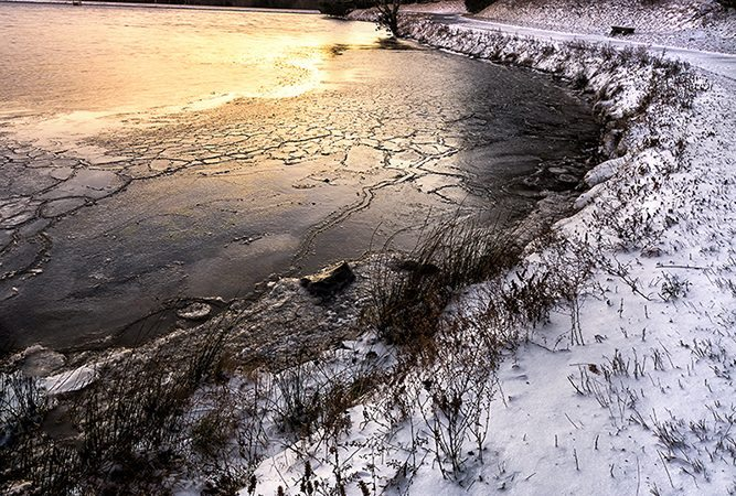 """Frozen Bass Lake Moses H. Cone Memorial Park"" by Victor Ellison Fine Art Photography"
