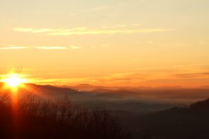 """Sunrise at Walnut Cove Overlook, Milepost 396.4"" by Sheley Revis"