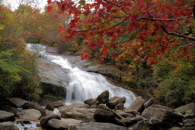 """""""Lower Falls at Graveyard Fields, Milepost 418.8"""" by RomanticAsheville.com Travel Guide"""