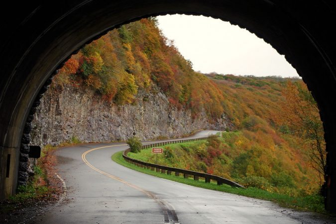 """""""Fall Color through the Craggy Pinnacle Tunnel, Milepost 364.4"""" by RomanticAsheville.com Travel Guide"""