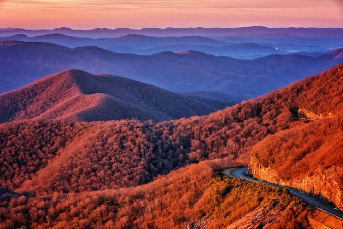 """Looking Down on the Parkway from Craggy Pinnacle"" by Daniel Plotts"