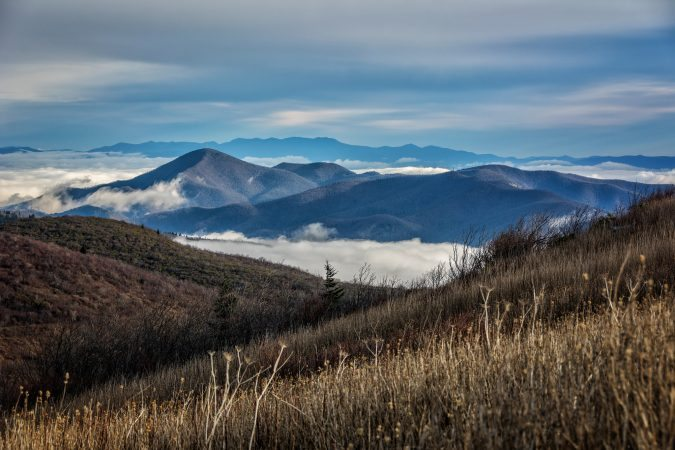 """Cloud Pools over Mt. Pisgah"" by Daniel Plotts"