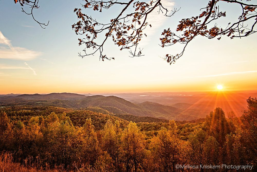 """Autumn Sunrise at The Saddle Overlook"" by Melissa Kniskern Photography"