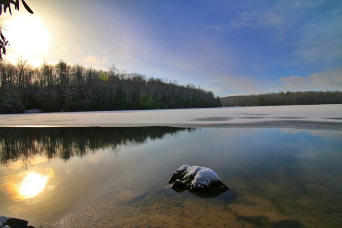 """Snowy Price Lake at Sunrise"" by Angie Houston"