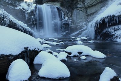 """Looking Glass Falls in Snow"" by J. Scott Graham"
