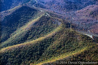 """Aerial of the Blue Ridge Parkway at Graveyard Fields, Milepost 418.8"" by David Oppenheimer"