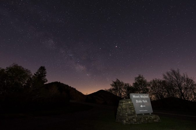 """""""Stars over Mt. Mitchell, Milepost 355"""" by Kevin Dobo"""
