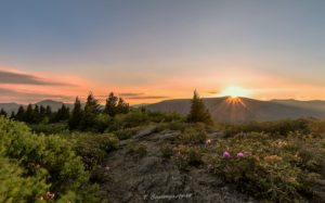 """Sunrise at the Pinnacle of Graybeard Overlook, Milepost 363.4"" by Tim Baumgartner"