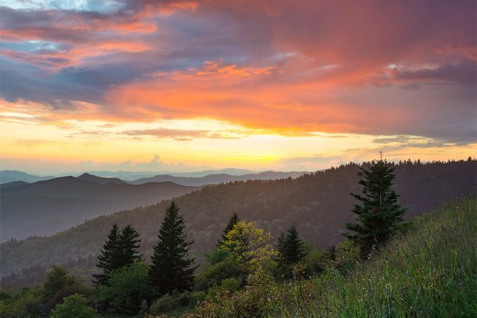 """Sunset at Cowee Mountains Overlook, Milepost 430.7"" by Dawnfire Photography"