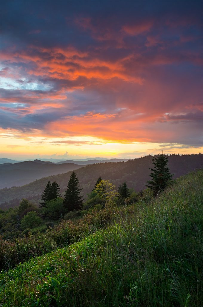 """""""Sunset at Cowee Mountains Overlook, Milepost 430.7"""" by Dawnfire Photography"""