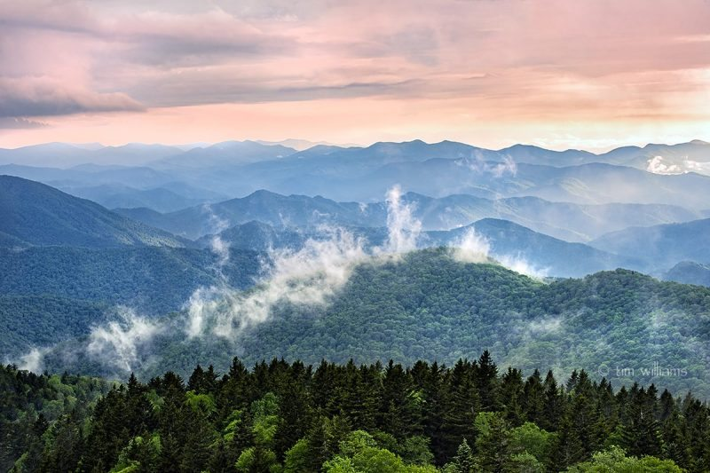 """Clouds Rising at Cowee Mountains Overlook, Milepost 430.7"" by Tim Williams"