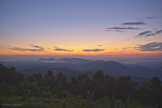 """August Sunset at The Saddle Overlook, Milepost 168"" by Leiane Gibson"