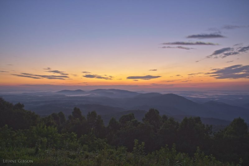 """""""August Sunset at The Saddle Overlook, Milepost 168"""" by Leiane Gibson"""