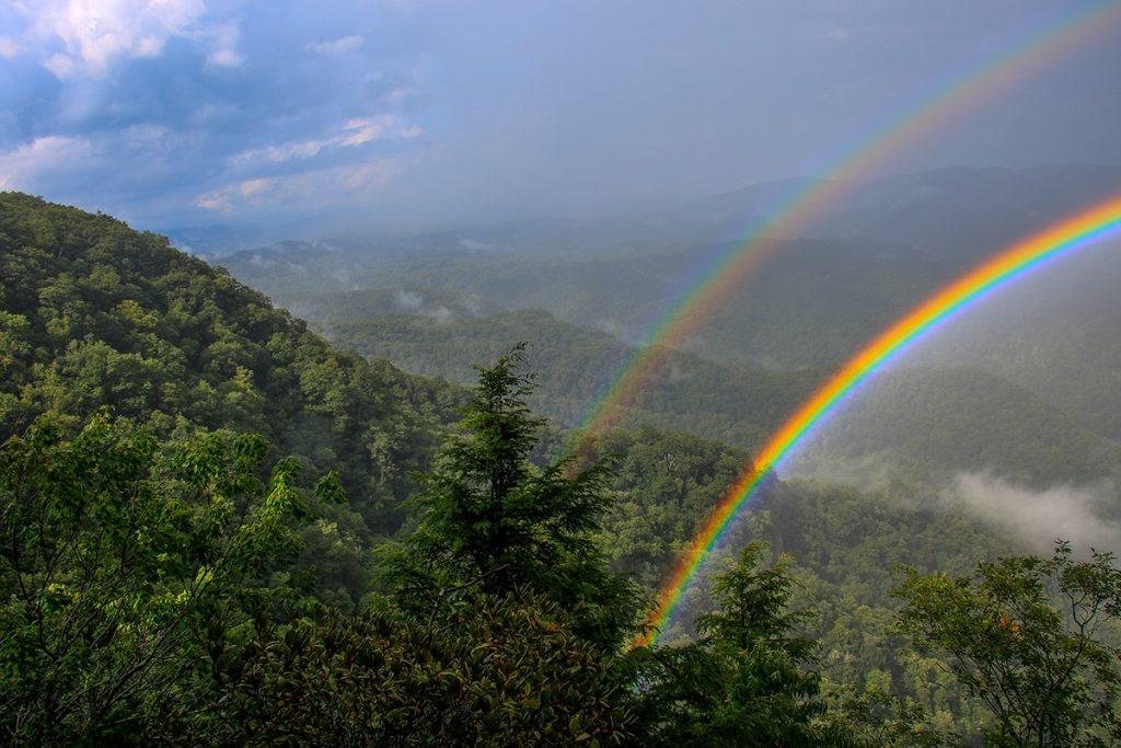 """Double Rainbow at Chestoa View, Milepost 320.8"" by HD Carolina"