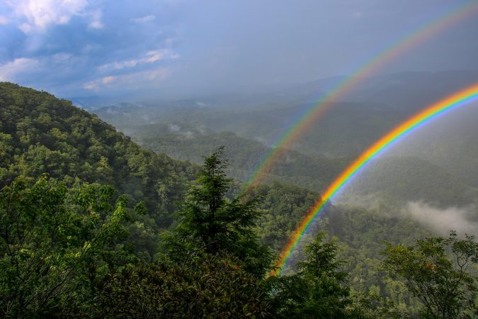 """Double Rainbow at Chestoa View, Milepost 320.8"" by HD Carolina"