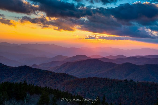 """Ridgelines at Cowee Mountains Overlook, Milepost 430.7"" by Terry Barnes"