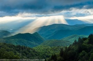 """""""Sunrays at Woolyback Overlook, Milepost 452.3"""" by Solitary Traveler Photography"""