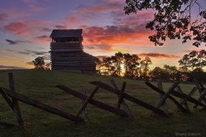 """""""Sunrise at Groundhog Mountain Lookout in Virginia, Milepost 189"""" by Leiane Gibson"""