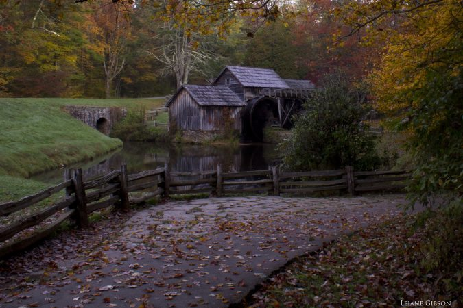 """Autumn at Mabry Mill in Virginia, Milepost 176"" by Leiane Gibson"