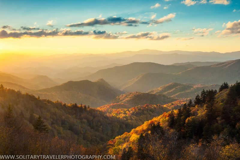 """Fall Sunset at Woolyback Overlook, Milepost 452.3"" by Solitary Traveler Photography"