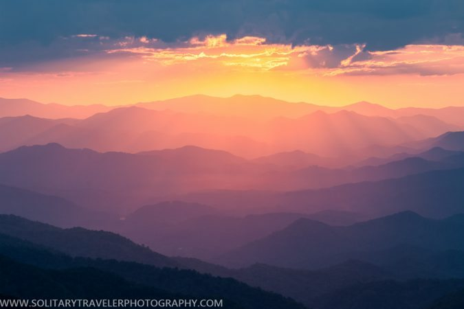 """Sunset at Woolyback Overlook, Milepost 452.3"" by Solitary Traveler Photography"