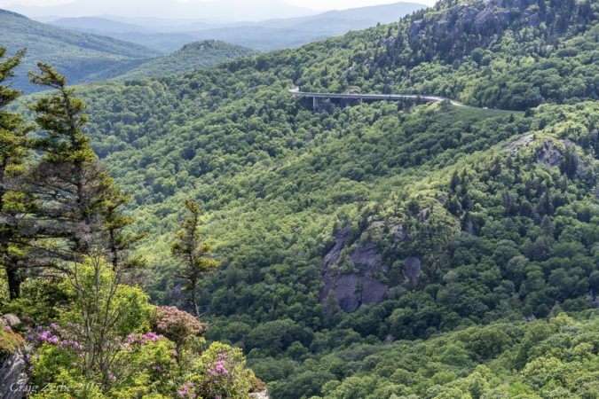 """Linn Cove Viaduct as viewed from Rough Ridge, Milepost 302.8"" by Craig Zerbe"
