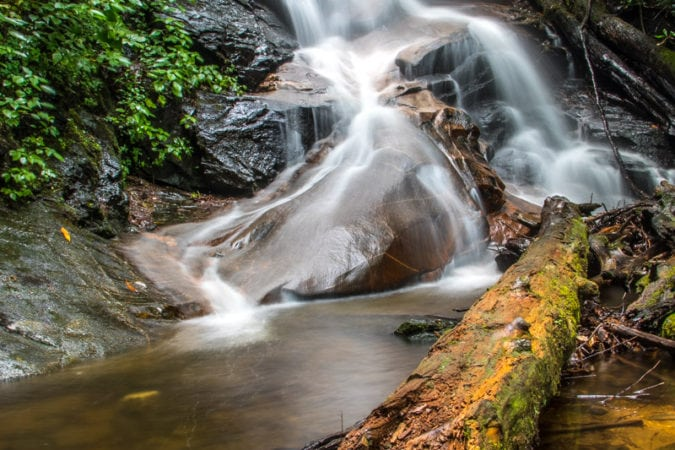 """Log Hollow Falls in Pisgah National Forest"" by HD Carolina"