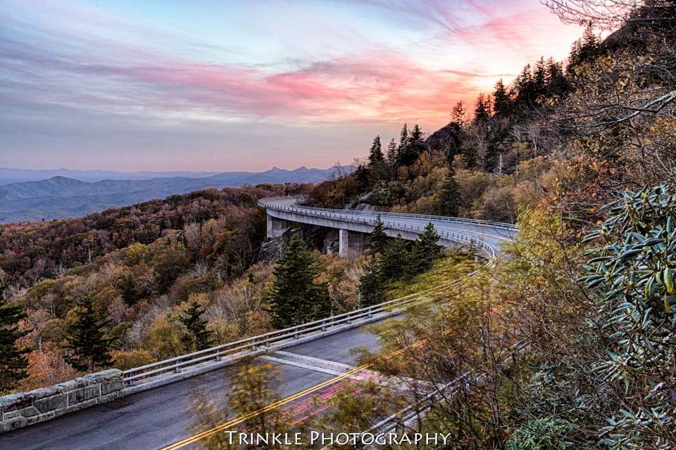 """Late Fall on the Linn Cove Viaduct, Milepost 304.4"" by Trinkle Photography"